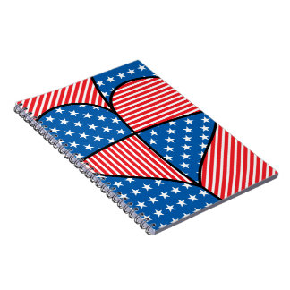 Patriotic American hearts Note Books