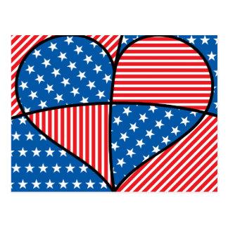 Patriotic American hearts Postcard