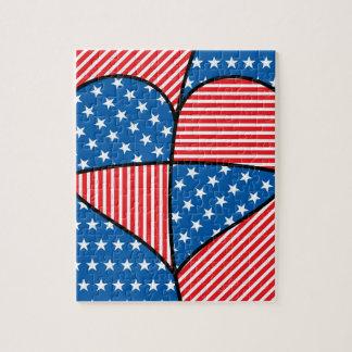 Patriotic American hearts Puzzle