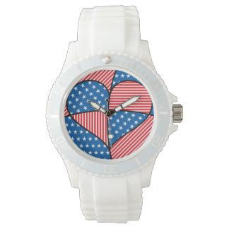 Patriotic American hearts Wristwatches
