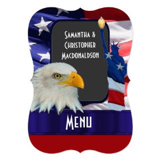 """Patriotic American icon wedding menu 5"""" X 7"""" Invitation Card"""