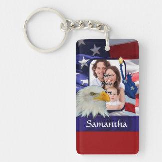 Patriotic American photo template Rectangular Acrylic Key Chain