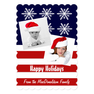 "Patriotic American photo template Xmas holiday 5"" X 7"" Invitation Card"