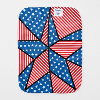 Patriotic American star Burp Cloths
