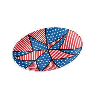 Patriotic American star Porcelain Plate