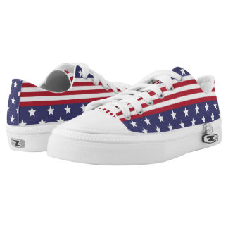 Patriotic American Stars and Stripes USA Flag Low-Top Sneakers