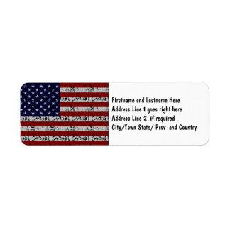 Patriotic American U.S.A. Flag of United States Return Address Label