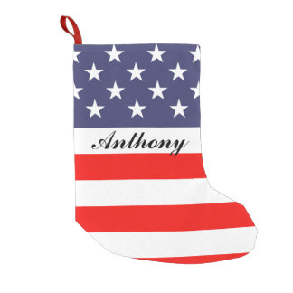 Patriotic American US flag personalized Holiday Small Christmas Stocking