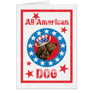Patriotic American Water Spaniel Card