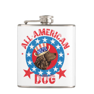 Patriotic American Water Spaniel Hip Flask