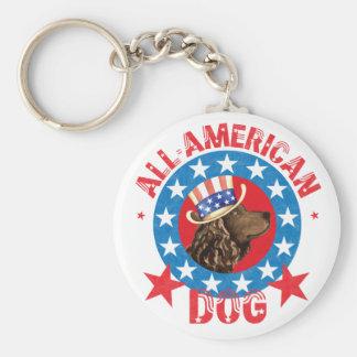 Patriotic American Water Spaniel Keychain
