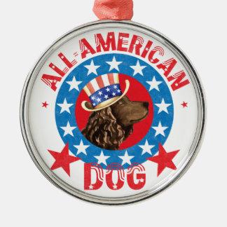 Patriotic American Water Spaniel Metal Ornament