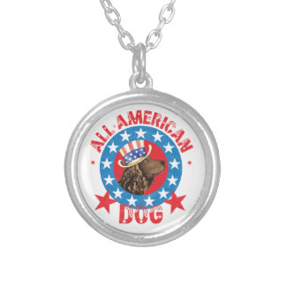 Patriotic American Water Spaniel Silver Plated Necklace