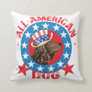 Patriotic American Water Spaniel Throw Pillow