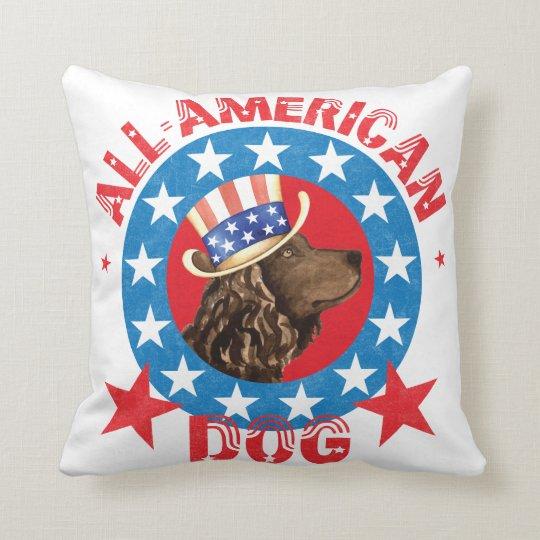 Patriotic American Water Spaniel Throw Pillow