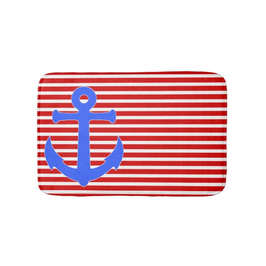 Patriotic Anchor and Stripes Bath Mat