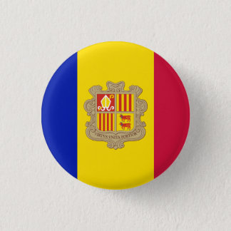 Patriotic Andorra Flag 1 Inch Round Button