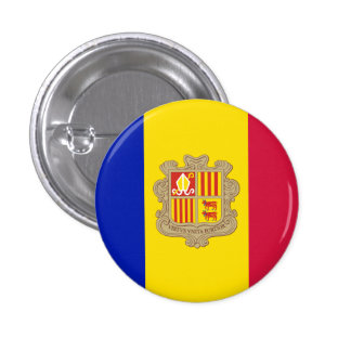 Patriotic Andorra Flag 1 Inch Round Button
