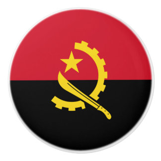 Patriotic Angolan Flag Ceramic Knob