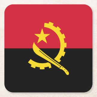 Patriotic Angolan Flag Square Paper Coaster