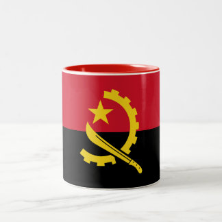 Patriotic Angolan Flag Two-Tone Coffee Mug