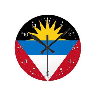 Patriotic Antigua and Barbuda Flag Round Clock