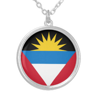 Patriotic Antigua and Barbuda Flag Silver Plated Necklace