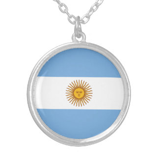 Patriotic Argentinian Flag Silver Plated Necklace