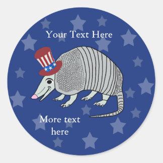 Patriotic Armadillo Round Sticker