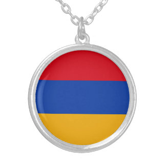 Patriotic Armenia Flag Silver Plated Necklace