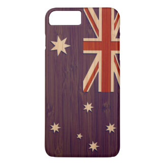 Patriotic Australia Australian Flag in Bamboo Look iPhone 7 Plus Case
