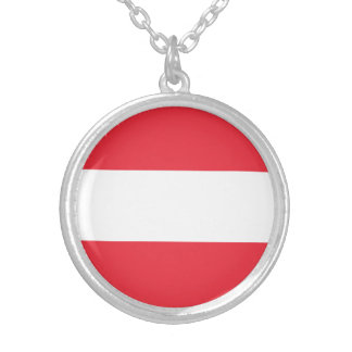 Patriotic Austrian Flag Silver Plated Necklace
