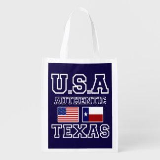 Patriotic Authentic USA Flag Texas Flag Market Tote