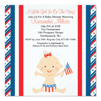 Patriotic Baby Girl Waving Flag Baby Shower Invite