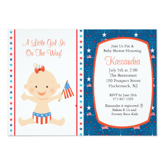 Patriotic Baby Waving Flag Baby Shower Invitation