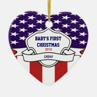 Patriotic Babys 1st Christmas Custom Photo Dated Ceramic Ornament