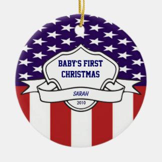 Patriotic Babys First Christmas Custom Photo Ceramic Ornament