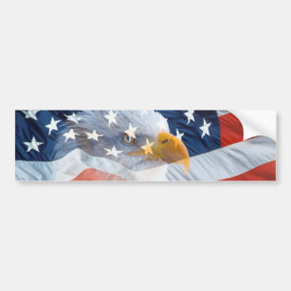 Patriotic Bald Eagle American Flag Bumper Sticker