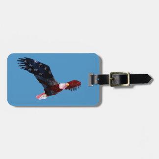 Patriotic Bald Eagle American Flag Travel Bag Tags