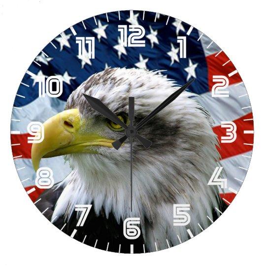 Patriotic Bald Eagle American Flag Wall Clock