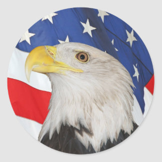 Patriotic Bald Eagle and American Flag Sticker