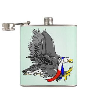 Patriotic Bald Eagle Illustration Hip Flask