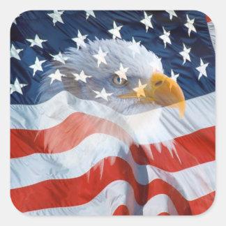 Patriotic Bald Eagle On The American Flag Square Sticker