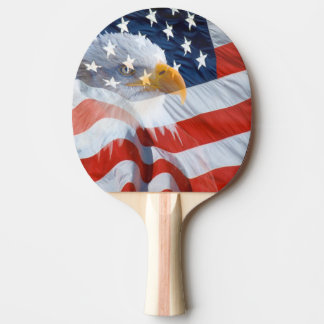 Patriotic Bald Eagle Over The American Flag Ping Pong Paddle
