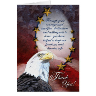 Patriotic Bald Eagle Thank You Card