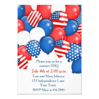 Patriotic Balloons Holiday Invitation