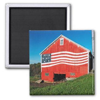 Patriotic Barn Square Magnet