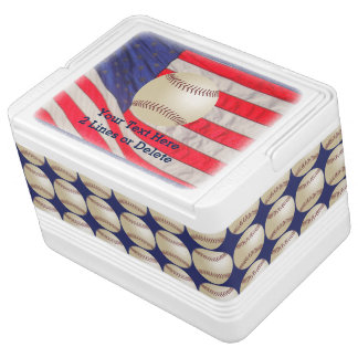 Patriotic Baseball Igloo Cooler, American Flag