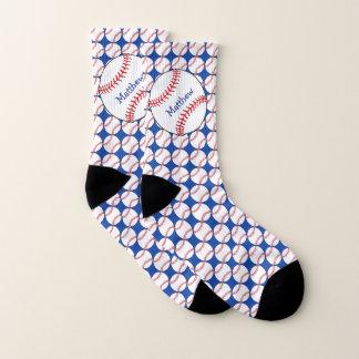 Patriotic Baseball Red White Blue Socks 1