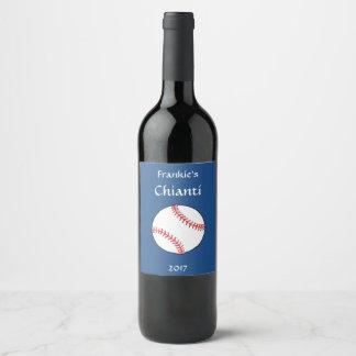 Patriotic Baseball Red White Blue Wine Label